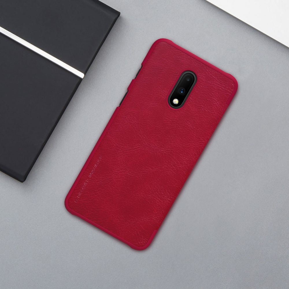 OnePlus 7 telefoni ümbris Qin Leather must