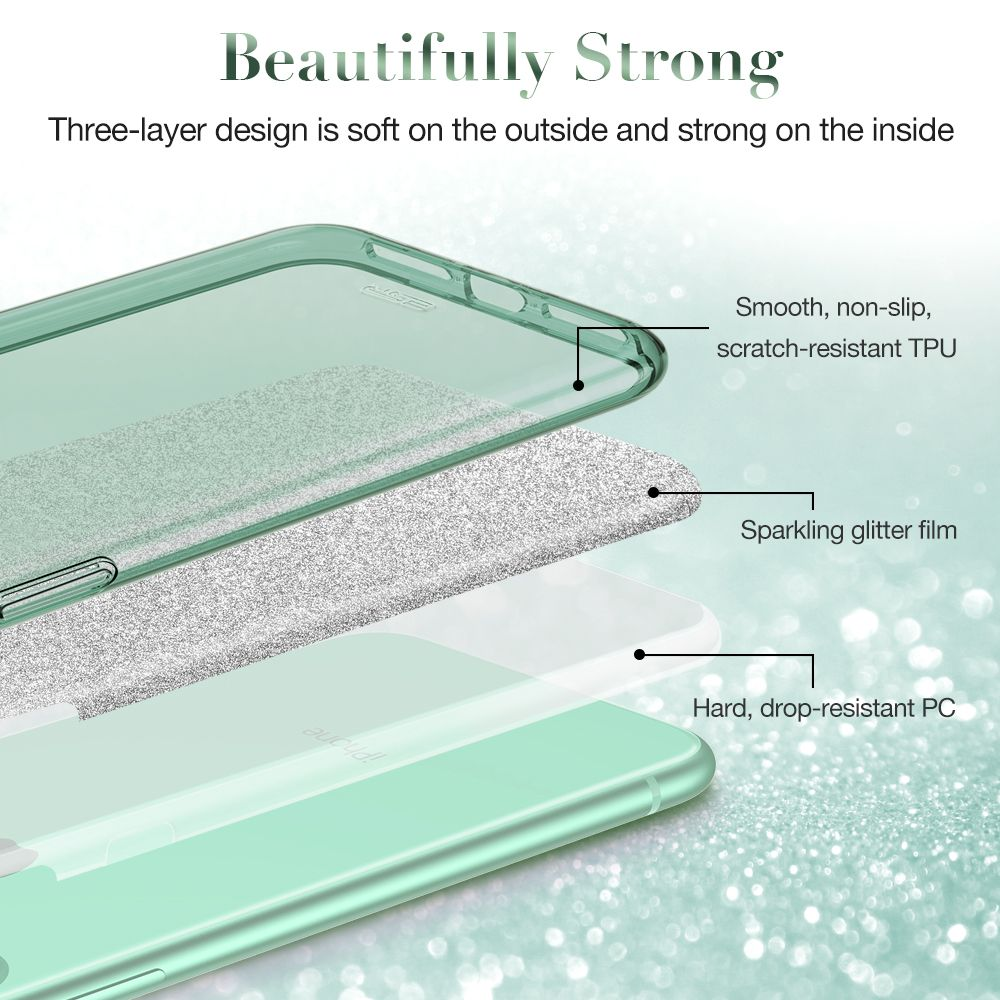 Apple iPhone 11 vāciņš zaļš ESR Makeup Glitter