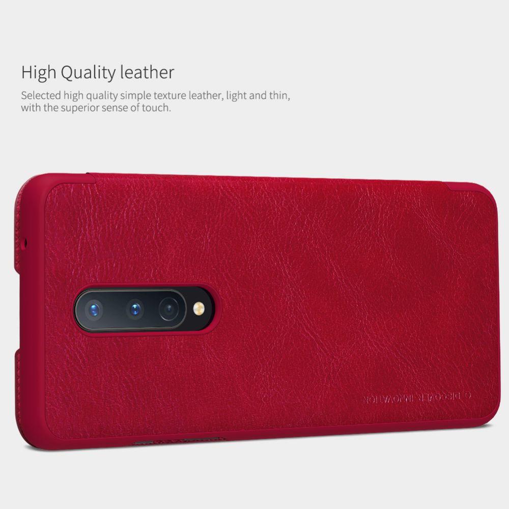 OnePlus 8 maciņš sarkans Nillkin Qin Leather