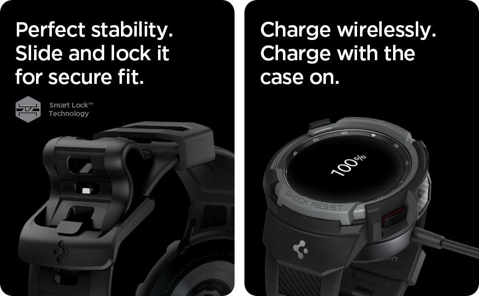 Samsung Galaxy Watch 4 siksniņa melns SPIGEN Rugged Armor PRO Classic